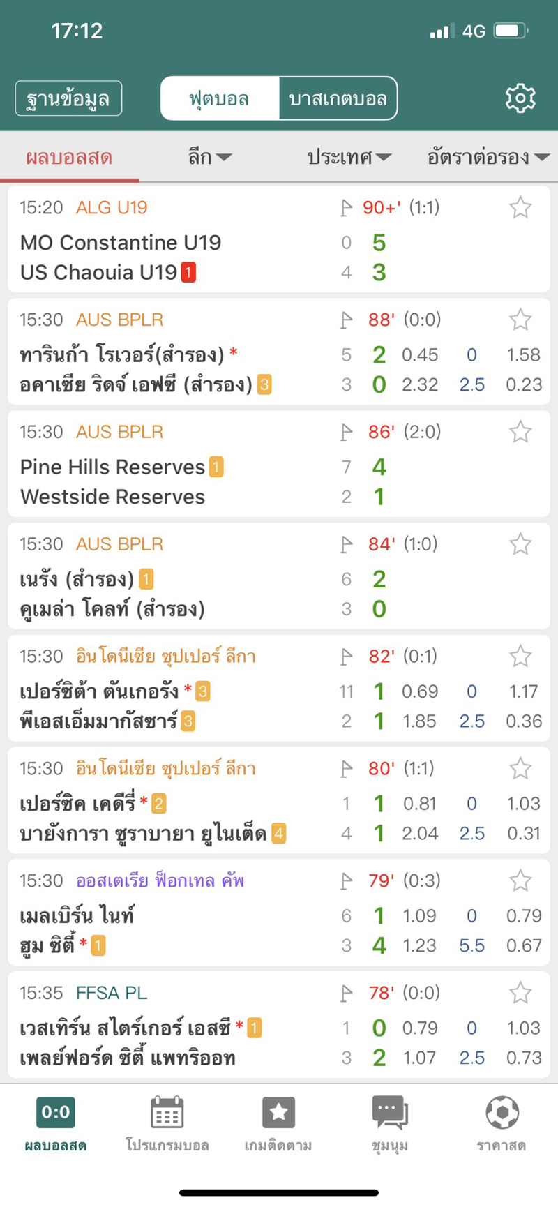 เช็คผลบอลสดภาษาไทย